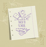 Vector background with a sheet of notebook and school pictures ( Royalty Free Stock Photos