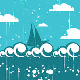 Vector background with the ship Royalty Free Stock Photography