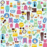 Vector background with shopping icons. Seamless background with colorful shopping icons Royalty Free Illustration