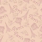 Vector background with the sights of Paris vintage style Stock Images