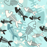 Vector background with skeleton fish. (seamless pattern) made in Eps 10 and grouped Royalty Free Stock Photography
