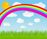 Vector background with sky, rainbow and sun Royalty Free Stock Photos