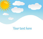 Vector background with sky, sun and clouds Royalty Free Stock Images