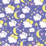 Vector background with sleeping bunny and bears, moon, hearts, clouds and stars. Hand drawn seamless pattern with cute animal and design elements Royalty Free Stock Photography