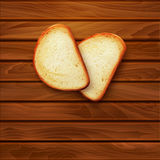 Vector background with slices of sliced bread (loaf) lying on th Stock Image