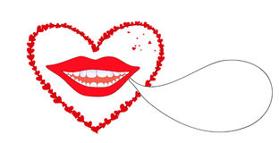 Vector background with smiling female lips with red hearts Stock Photo