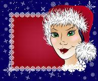 Vector background with snowflakes and a beautiful girl. Stock Photos