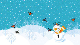 Vector background with snowman. Vector winter landscape background with snowman and bullfinches stock illustration
