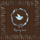 Vector background with spring bird and frame made of feathers Stock Images