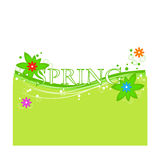 Vector background spring with flower, round, lines on green Stock Images