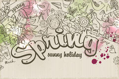 Vector background on a spring theme of doodles and watercolor stains Royalty Free Stock Photography