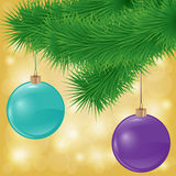 Vector background with spruce branch and christmas balls Royalty Free Stock Images