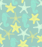 Vector background with starfishes and seahorse Stock Image