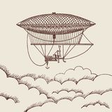 Vector background with hand drawn air baloon. Vector background with steampunk hand drawn air baloon above the clouds illustration Royalty Free Stock Image