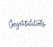 Vector background with  stylish lettering - 'Congratulations'. Hand drawn banner. Colorful festive card Stock Photography