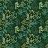 Vector background with stylized corals. Seamless pattern with corals on a green background for design Royalty Free Stock Images