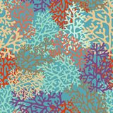 Vector background with stylized corals. Seamless whimsical pattern with corals for design Stock Image