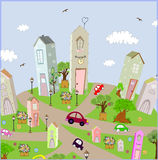 Vector background summer city with cars on the Royalty Free Stock Photography