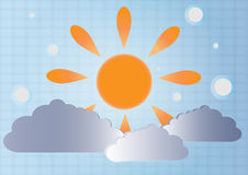 Vector background of sun and clouds.EPS 10 Royalty Free Stock Photo