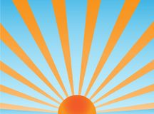 Sun retro vector. Vector background sunray orange and blue Royalty Free Stock Images