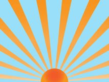 Sun retro vector. Vector background sunray orange and blue Royalty Free Stock Photo