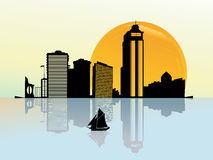 Vector background; sunset on a business city. Illustration of skyscrapers silhouettes with sunset and boat,  art Royalty Free Stock Photography