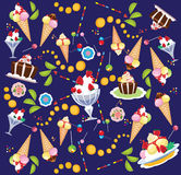 Vector background of sweets, ice cream, cake, lollipop. Vector illustration of background of sweets, ice cream, cake, lollipop Stock Photos