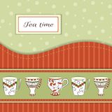 Vector background with tea cups Royalty Free Stock Photography
