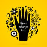 Vector background template with funky doodle elements and big black hand. Useful for party, birthday, invitations and weddings Royalty Free Stock Photography