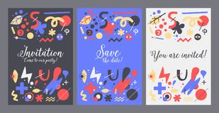 Vector background template with funky hand drawn elements. Can be used for party, birthday, invitations and weddings. Vector background template with funky hand royalty free illustration