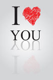Vector background,  Text  I Love You Royalty Free Stock Photos
