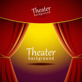 Vector background with theater stage and red curtain Royalty Free Stock Photo