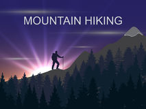 Vector background on the theme of Climbing,  Hiking, Trekking, Mountaineering. Stock Image