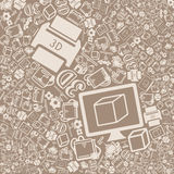 Vector background of the three d printer icons Royalty Free Stock Photo