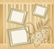Vector  background with three photo frames Royalty Free Stock Image