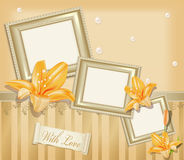 Vector  background with three photo frames. Ribbon, pearls and  lilies Royalty Free Stock Photography