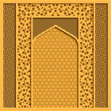 Vector background with traditional indian architecture and golden ornaments. Vector background with traditional indian architecture and geometric golden Stock Photo