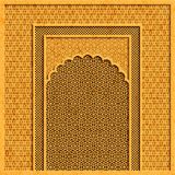 Vector background with traditional indian architecture and golden ornaments Stock Photos