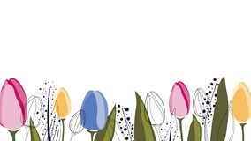 Vector background with tulips and leaves royalty free illustration