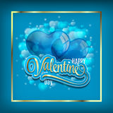 Vector background with two balloons hearts. Happy Valentine's day. Easy to edit. Perfect for invitations or announcements. Vector background with two balloons Royalty Free Stock Image