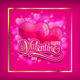 Vector background with two balloons hearts. Happy Valentine's day. Easy to edit. Perfect for invitations or announcements. Vector background with two balloons Royalty Free Stock Images