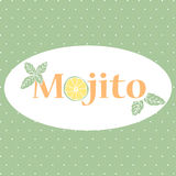 Vector background with typography Mojito and hand drawn mint and lime. Summer season drinks banner Stock Photography