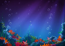 Vector background with underwater cave Stock Images