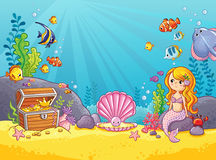 Vector background with an underwater world. Stock Image