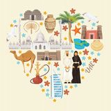 Vector background of United Arab Emirates. Heart shape. UAE flyer with modern buildings and mosque in light style. Stock Image