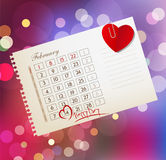 Vector background for Valentine's day, with the calendar sheet a Stock Photos