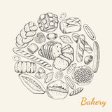 Vector background with various bakery products arranged in a circle. Vector poster with a in a sketch style Royalty Free Stock Image