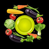 Vector background with vegetables in a circle Stock Image