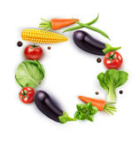 Vector background with vegetables in a circle (tomato, cabbage, Stock Image