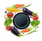 Vector background with vegetables (tomato, eggplant, pepper Stock Photo